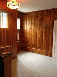 brown paint wood paneling decor with tile floor for traditional interior decor ideas