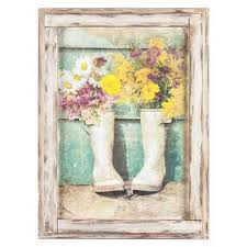 flowers in boots framed wall decor