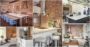 Exposed Brick Kitchen Modren White Kitchen Exposed Brick Wall Containing Island Cabinet