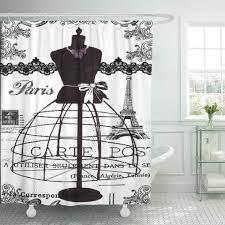 Cynlon Vintage Black White Paris French France Eiffel Tower Lace Bathroom Decor Bath Shower Curtain 66x72 Inch Walmart Com Walmart Com
