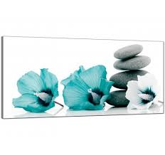 large teal grey white flowers zen stones floral modern canvas art 120cm 1072 on blue gray and white wall art with teal canvas pictures prints wall art free delivery