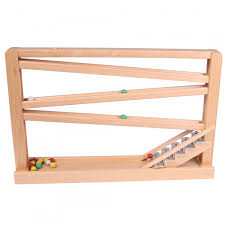 marble roller coaster made of beechwood with chimes