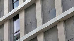 finishes stone ventilated curtain wall façade system with worked stone slabs on a lightweight concrete base lithodecor