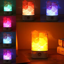 Pink Night Light Us 17 55 35 Off Himalayan Crystal Salt Lamp Natural Air Purifying Dimmable Pink Salt Rock Crystal Led Desk Night Light With Adjustable 7 Colors In