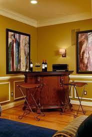 Classic Style Corner Home Mini Bar Design With Black Marble - Home liquor bar designs