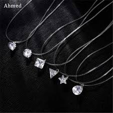 Ahmed <b>Poputton Female Transparent Fishing</b> Line Necklace Silver ...