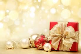 Present Box Bow Balls Bulbs White Gold Red Toys Christmas