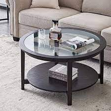 Coffee table matte black round sofa side small night stand end table metal legs. Amazon Com Black Round Coffee Table With Tempered Glass And Open Storage Shelf For Small Space And Living Room Kitchen Dining