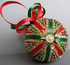 Sequined Or Nts Nt Designs Christmas Decorations Made Polystyrene Balls  Blue Starburst Snowflakes Red And ...