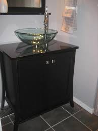 glass bowl sink with vanity. Small Bathroom Sink Ideas Comes With Dark Wooden Laminated Vanity Double Doors And Freestanding Glass Bowl Stainless Steel Faucet In