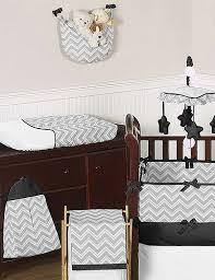 zig zag black gray chevron print crib bedding set