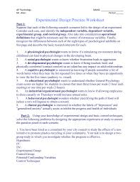 Research Design Worksheet Psychology Experimental Design Practice Worksheet