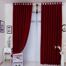 Chenille Modern Looking Plain Red Curtains For Living Room  Curtains Market