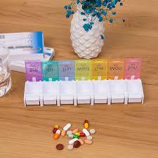 Potable <b>Pill Box 7</b> Days Weekly Tablet <b>Pill Medicine</b> Box Holder ...