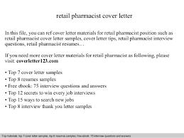 Example Of Cover Letter For Retail Job Retail Pharmacist Cover Letter