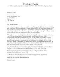 Photography Cover Letter Cover Letter Examples For