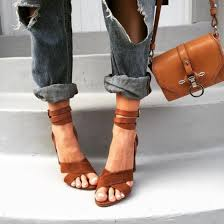 shoes heels tan ankle strap heels suade shoes bag brown leather bag jeans boyfriend jeans mom