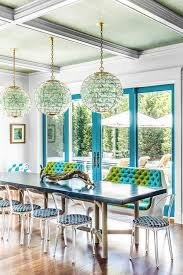 blue glass orb chandelier with rope dining table
