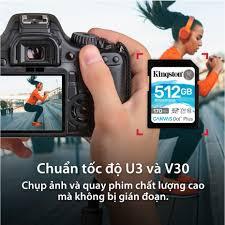 Thẻ nhớ Kingston Canvas Go Plus SD 512GB cho thiết bị di động Android,  camera, flycam và sản xuất video 4K SDG3/512G chính hãng 2,999,000đ