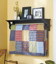 Quilt Rack | eBay & Wall Mounted Quilt Rack With Shelf Wood Display Storage Blanket Hanger  Holder Adamdwight.com