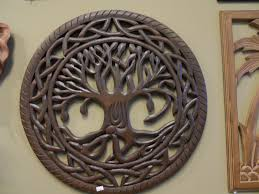 tree of life wood carving wall art