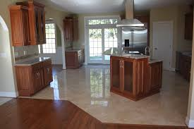 Marble Floor Kitchen Marble Flooring Tile In Modern Home Kitchen With Brown Island Also