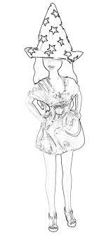 Kleurplaat Van Een Meisje Met Heksenhoed