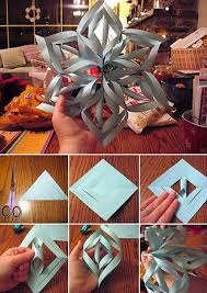 How To Make A 3d Snowflake Make A 3d Paper Snowflake Christmas Christmas Crafts
