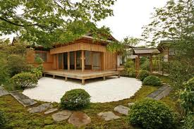 Small house design Modern garden house with open desk, stone patio and small  garden ...
