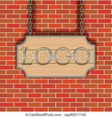 Signboard Template Vector Tavern Signboard Template On Brick Wall Background Display