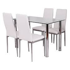 tangkula 5 pcs dining table set gl table and metal chairs home dinette furniture white