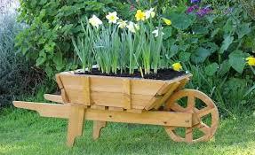 wooden wheelbarrow wheelbarrow planter