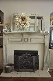 chalk painted fireplace mantel