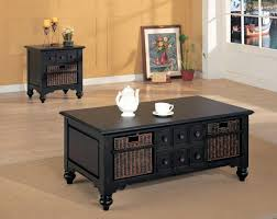 coffee table dark wood set wooden and plenty of with drawers