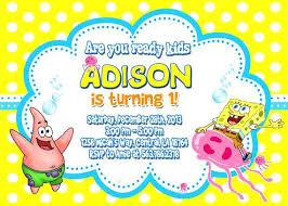 invitation party templates idea free spongebob birthday invitation templates and party