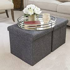 Looking for an easy way to clear clutter? Amazon Com Seville Classics Foldable Storage Ottoman Footrest Toy Box Coffee Table Chest Trunk Seat Stool 2 Pack Modern Gray Furniture Decor
