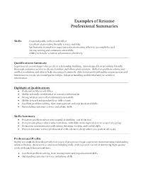 Summary Of Skills On Resume Joefitnessstore Com