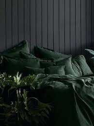 forest green quilt pure linen pillowcase set in sheet