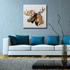 china hand painted moose head canvas oil painting wall art home decor wall decoration popular art  on home decor wall art painting with china hand painted moose head canvas oil painting wall art home