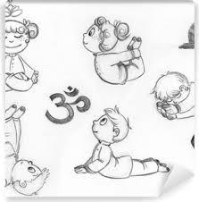 Poster I Bambini Che Praticano Posizioni Yoga Disegnati A Mano