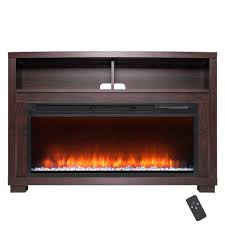 freestanding electric fireplace mantel heater in wooden brown with tempered glass crystals and remote control