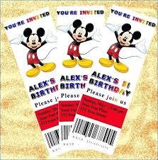Party Ticket Invitations Enchanting Mickey Mouse Birthday Party Invitation Card Ticket Invitations