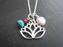 sterling silver lotus flower pearl necklace