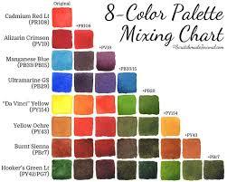 Watercolor Palette Chart 8 Color Watercolor Palette Watercolor Mixing Watercolor