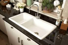 undermount porcelain sink. Fine Sink Two Bowl Undermount Porcelain Sink With Chrome Faucet In The Kitchen Intended R
