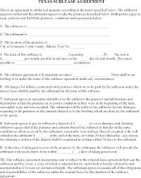 Sample Sublease Agreement Residential Sublease Agreement Template