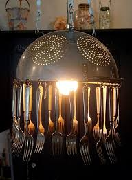 craft metal lighting. kitchen chandelier out of old colinder and silverware repurpose home decor handmade craft metal lighting