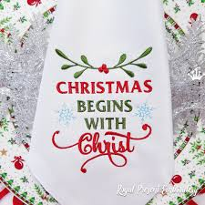 Embroidery Library Christmas Designs Christmas Begins With Christ Inscription Machine Embroidery Design 2 Sizes