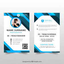 Vector Card With Id Free Flat Design Template Download