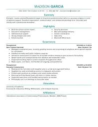 Resume Receptionist Sample Best Of Resume Templates For Front Desk Receptionist Mklaw